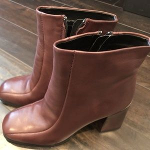 Womens Brown Italian Heel Leather Ankle Boots 39 9